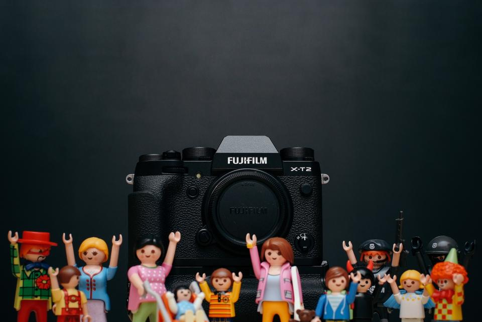 fujifilm black camera photography toy display