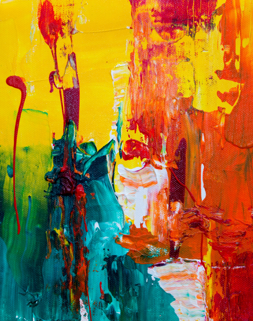 messy abstract painting art artist creative design bright colorful acrylic canvas close up yellow red green
