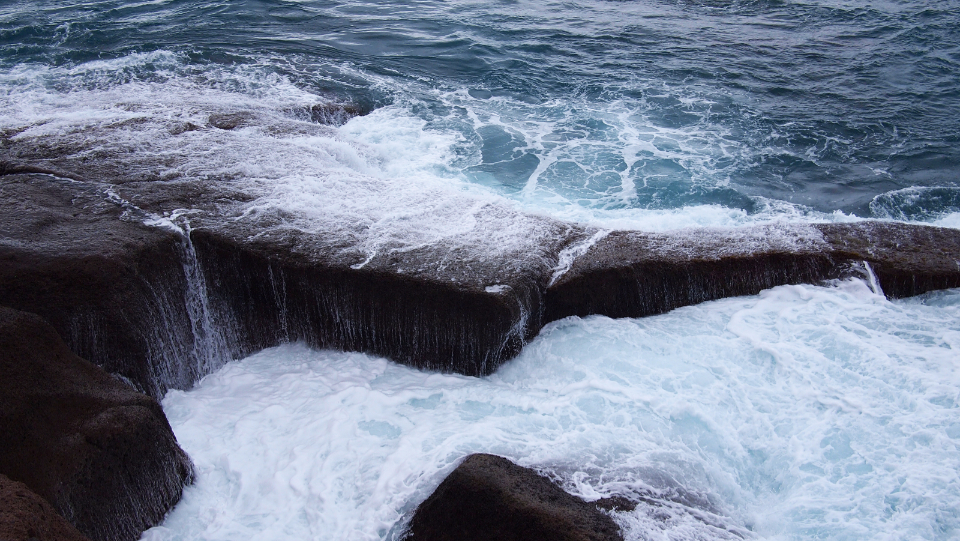 ocean sea water waves storm rocks