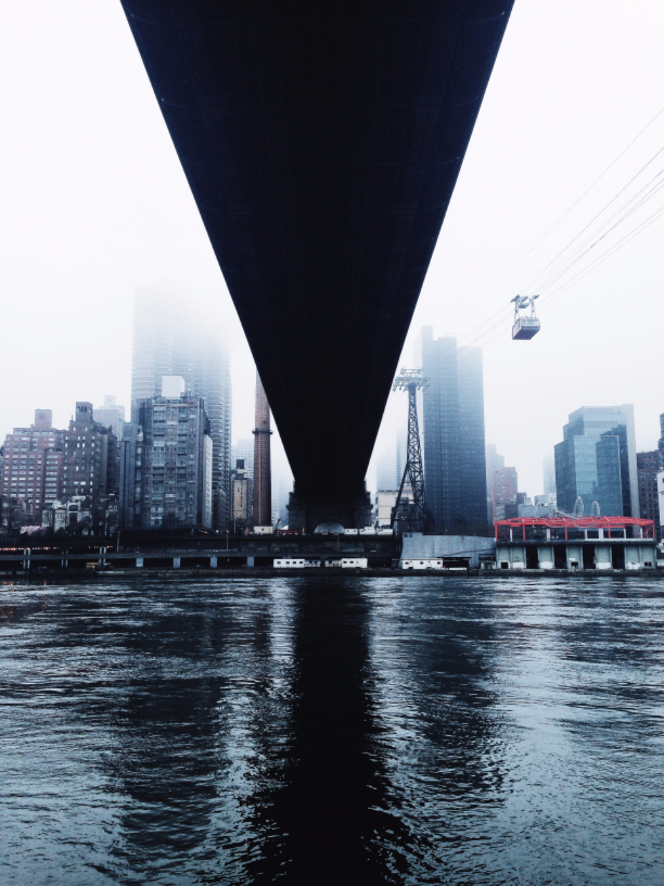 nyc new york architecture bridge car city fog reflection river under urban water hd