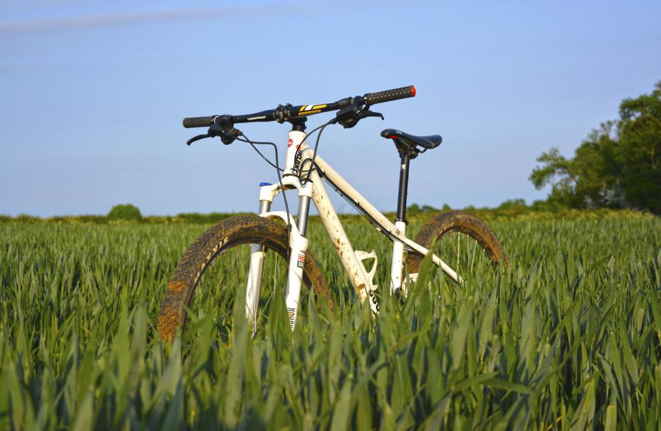 bike bicycle sport hobby green grass field sky clouds
