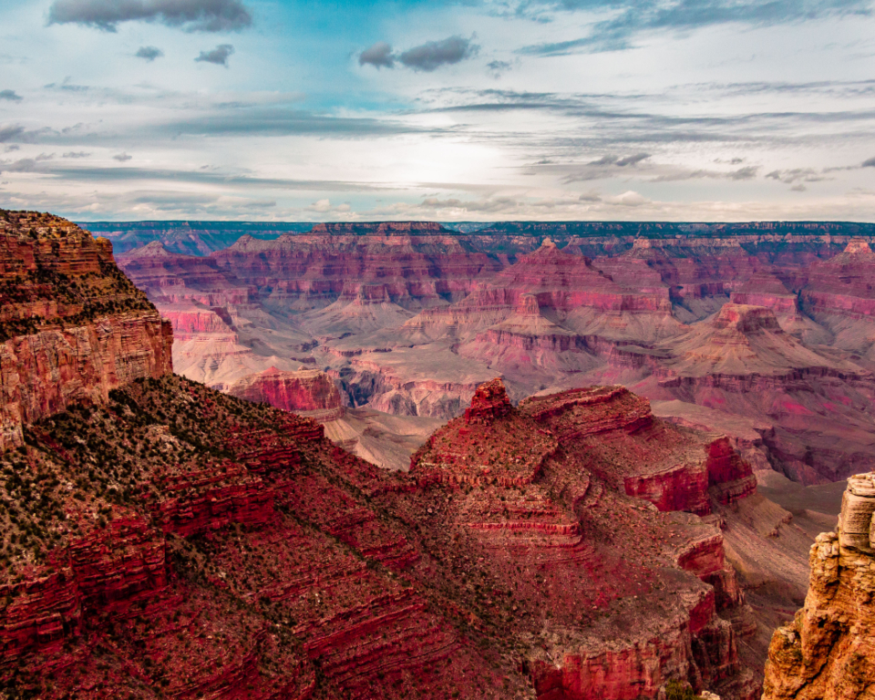 landscape grand canyon nature blue sky.clouds vista red mountain usa