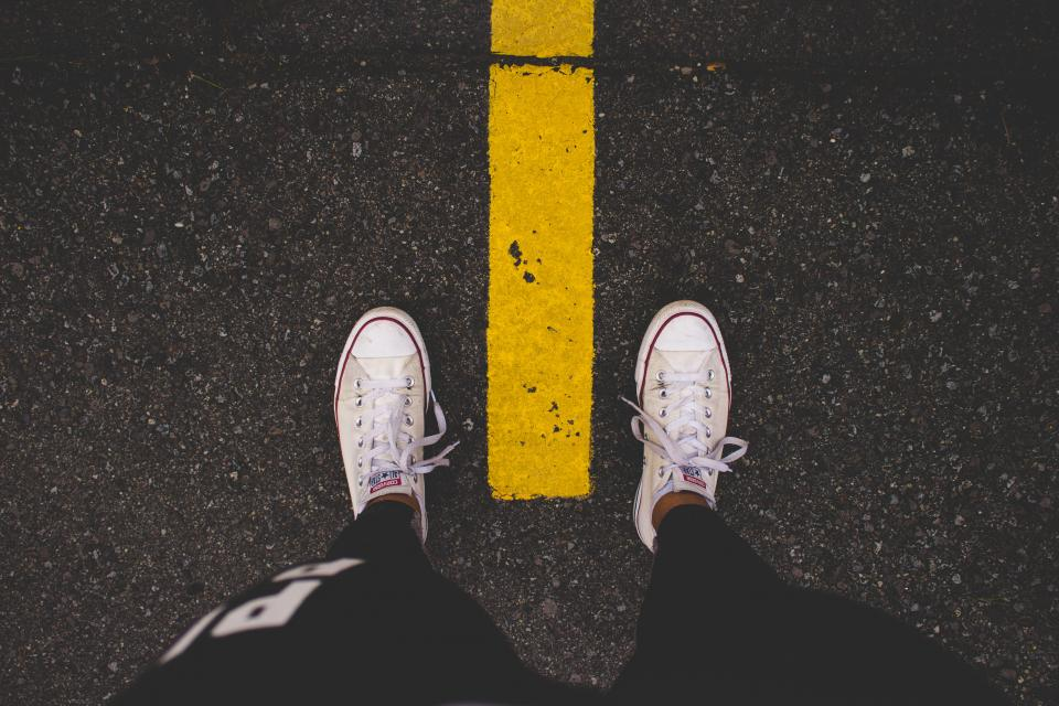 foot road travel adventure converse white sneakers
