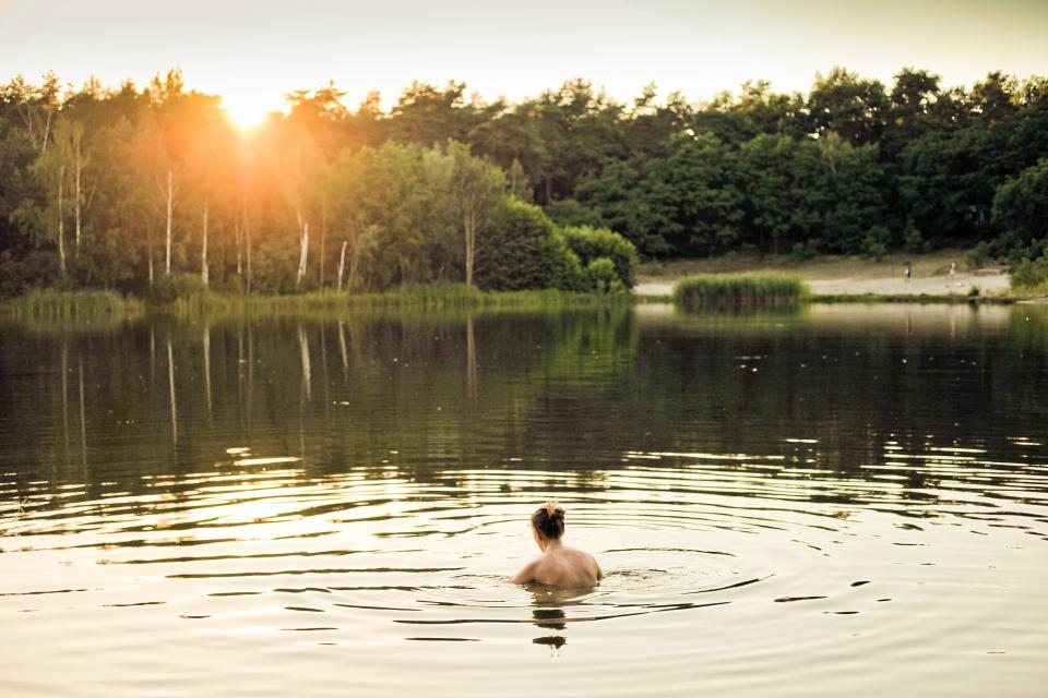 people girl swimming lake water nature trees grass sunlight sunrise sunset reflection sky