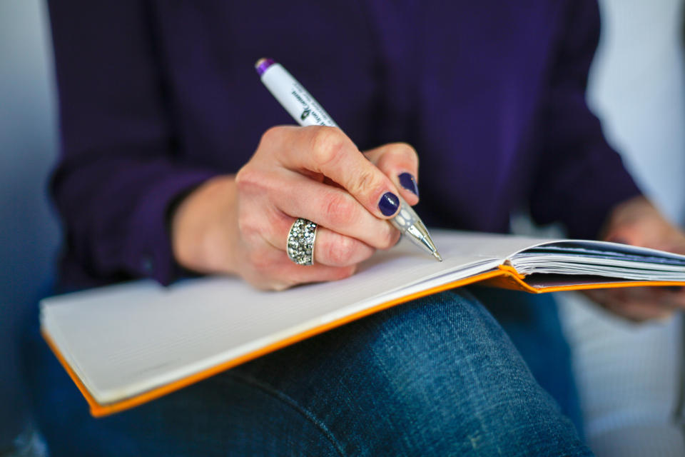 writing letter hand note pen paper notebook woman female diary ring journal work writer jeans person