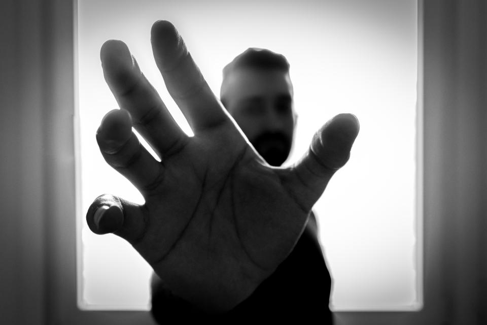 hand palm finger black and white people man window silhouette