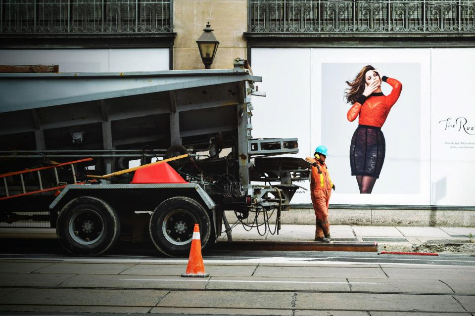 guy man male people city urban construction worker job truck ladder poster break model woman orange