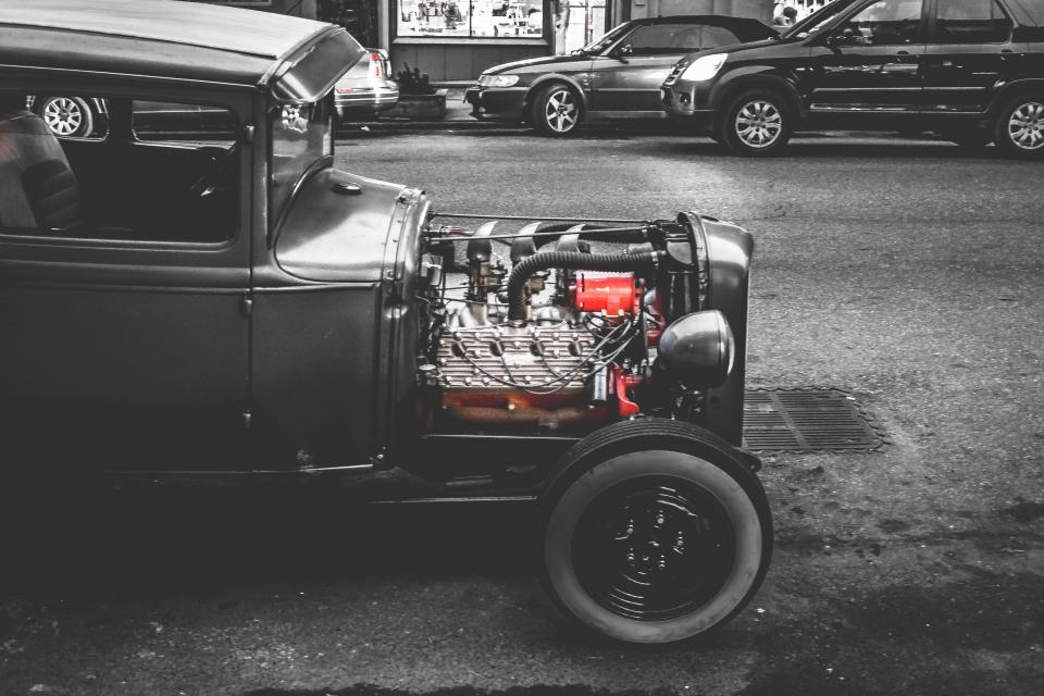 car classic vintage engine street road black and white city