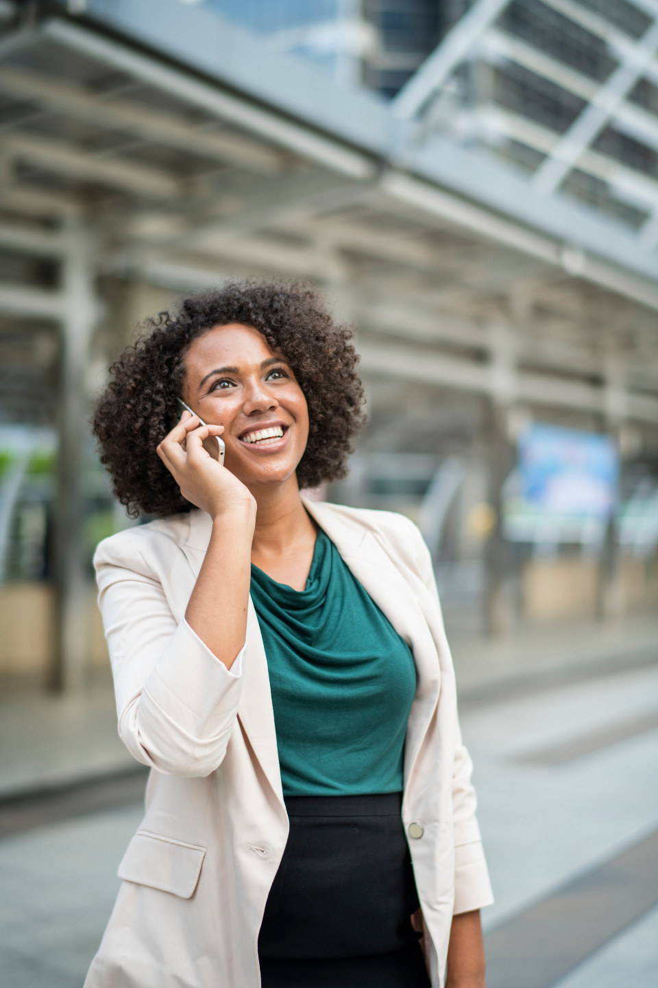 businesswoman city woman calling phone happy expressive business cellphone mobile networking communication chatting