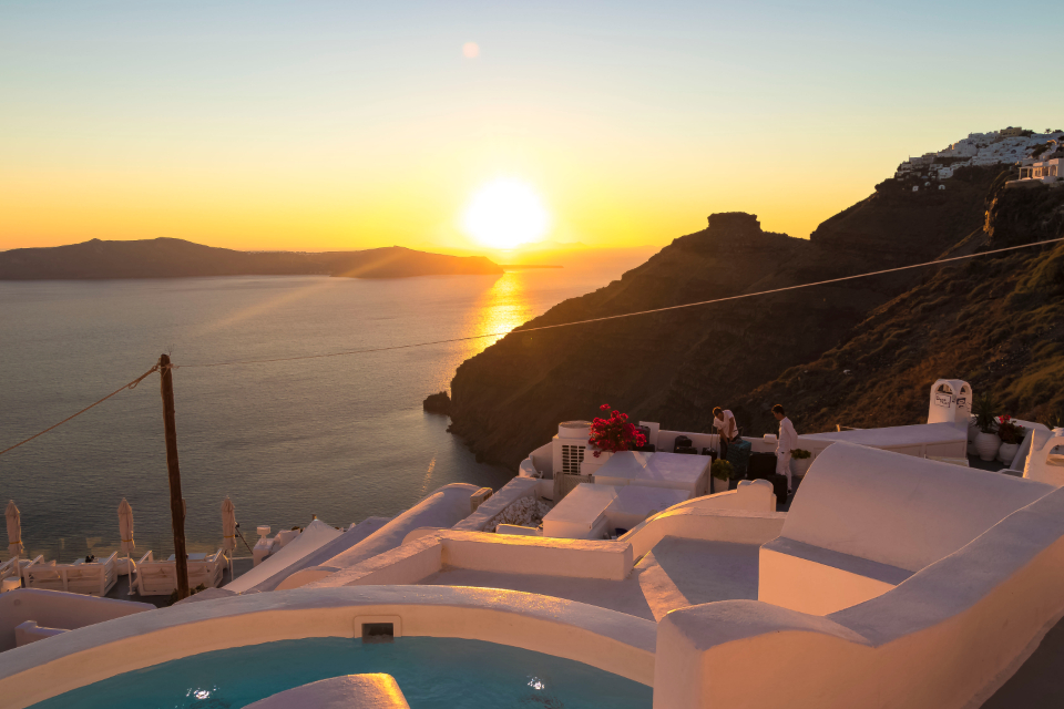 Santorini sunset sun caldera city amazing ocean beauty relax photo color