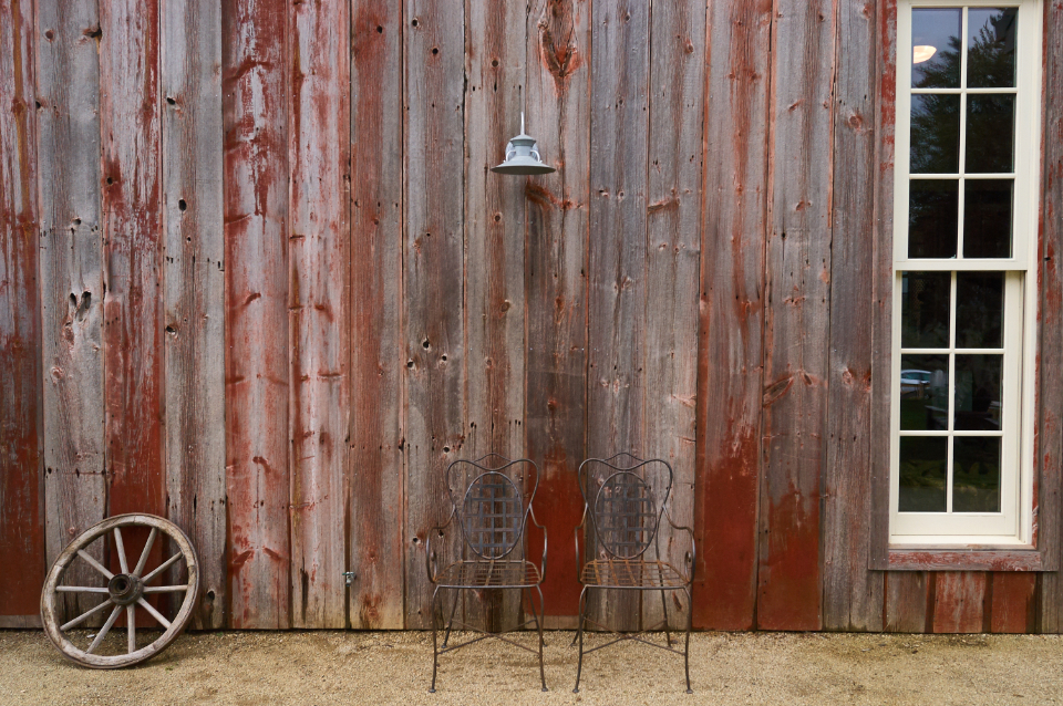 rustic barn Building Chairs Old Scene Wagon Wheel Window boards antique weathered vintage steel