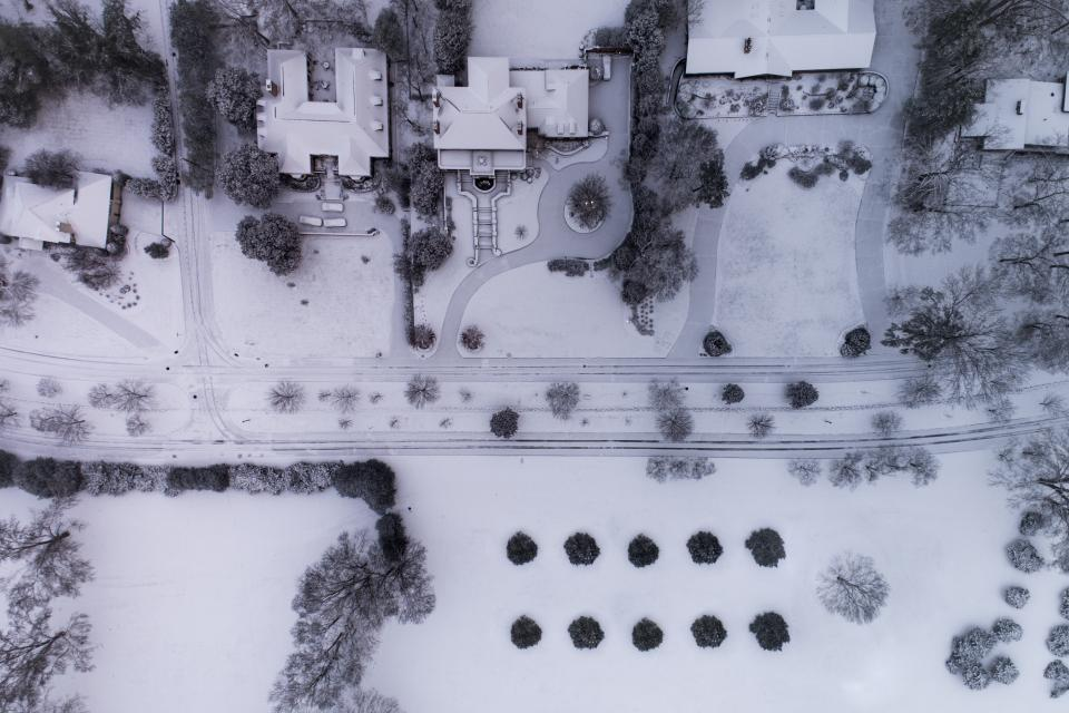 snow winter white cold weather ice trees plants nature household aerial design urban planning road