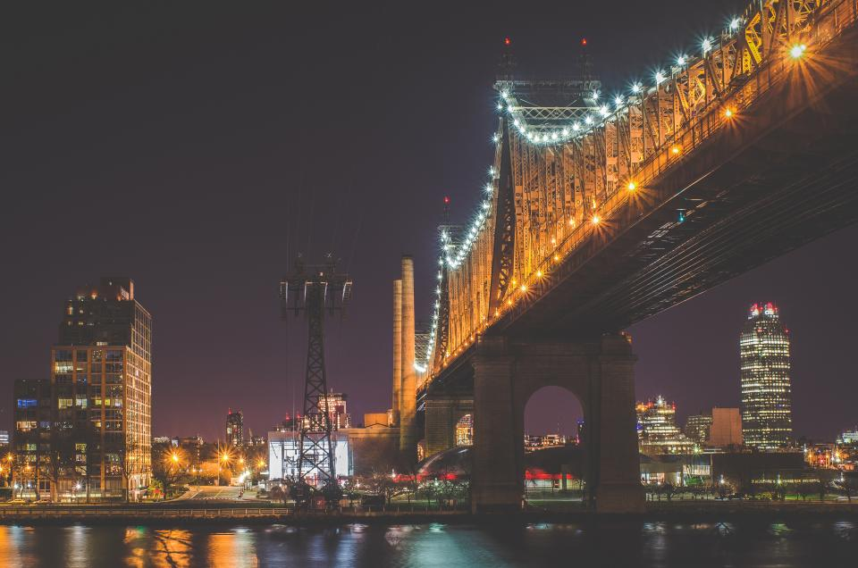 bridge architecture lights night evening dark city urban skyline buildings