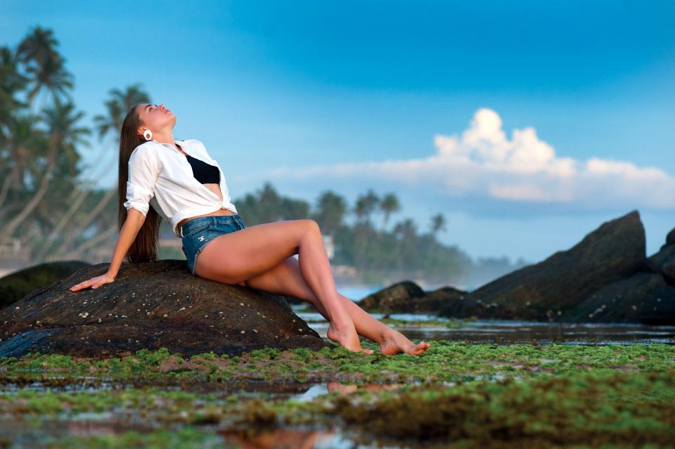 nature landscape clouds sky people woman fashion beauty green model sexy tree coconut ocean sea beach travel adventure