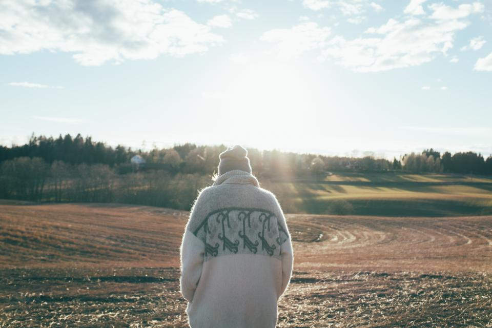 nature sun sunny field outside landscape silhouette winter low norway people sweater