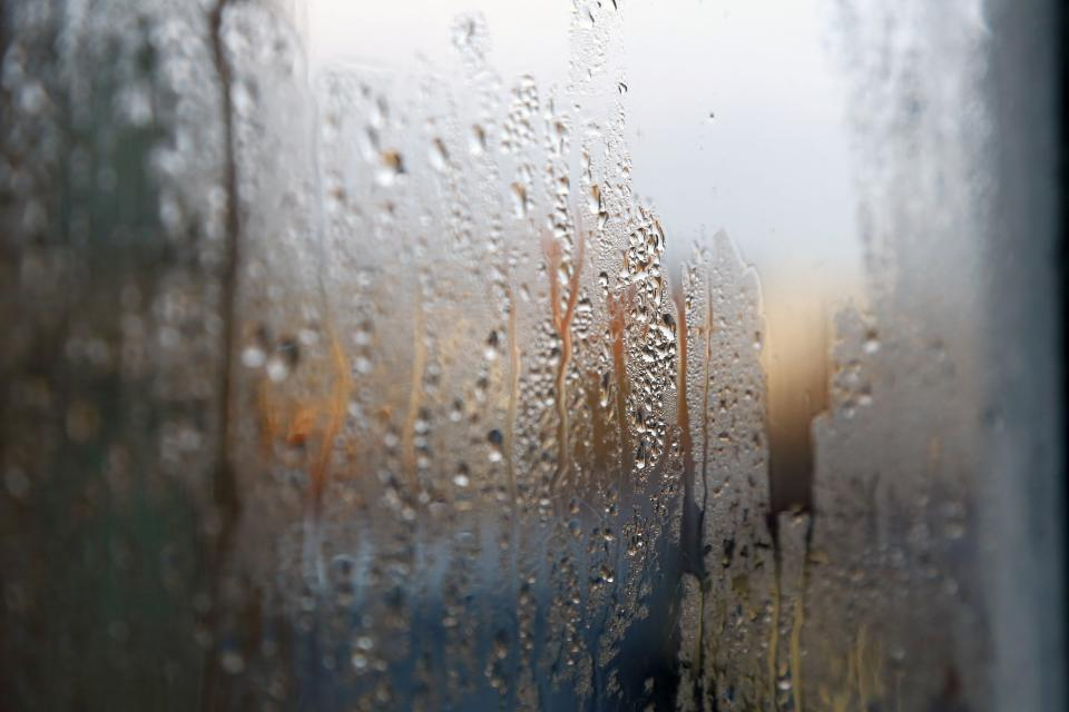 still items things window glass moist water droplets condense