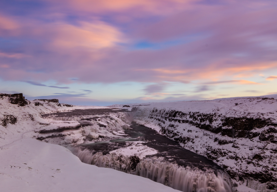 frozen waterfalls iceland water nature outdoors outside sky clouds landscape travel snow winter cold freezing scenic