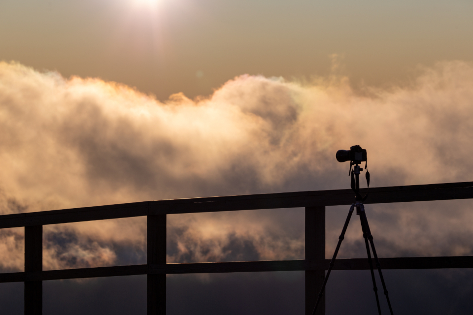 camera silhouette sky tripod clouds sun photographer landscape nature equipment outdoor lens photography