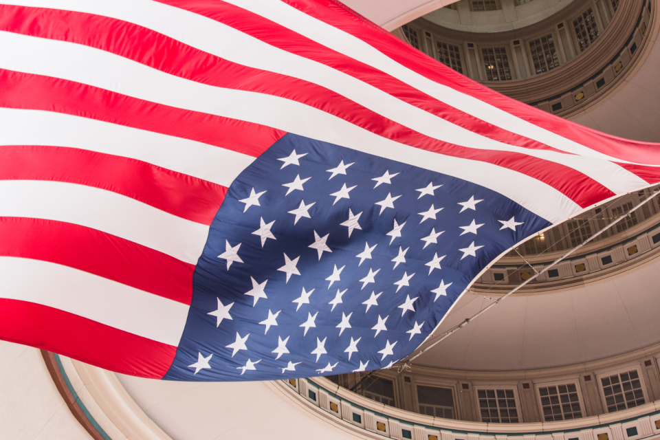 flag usa building interior ceiling american city landmark hall classic architecture design windows dome national hanging