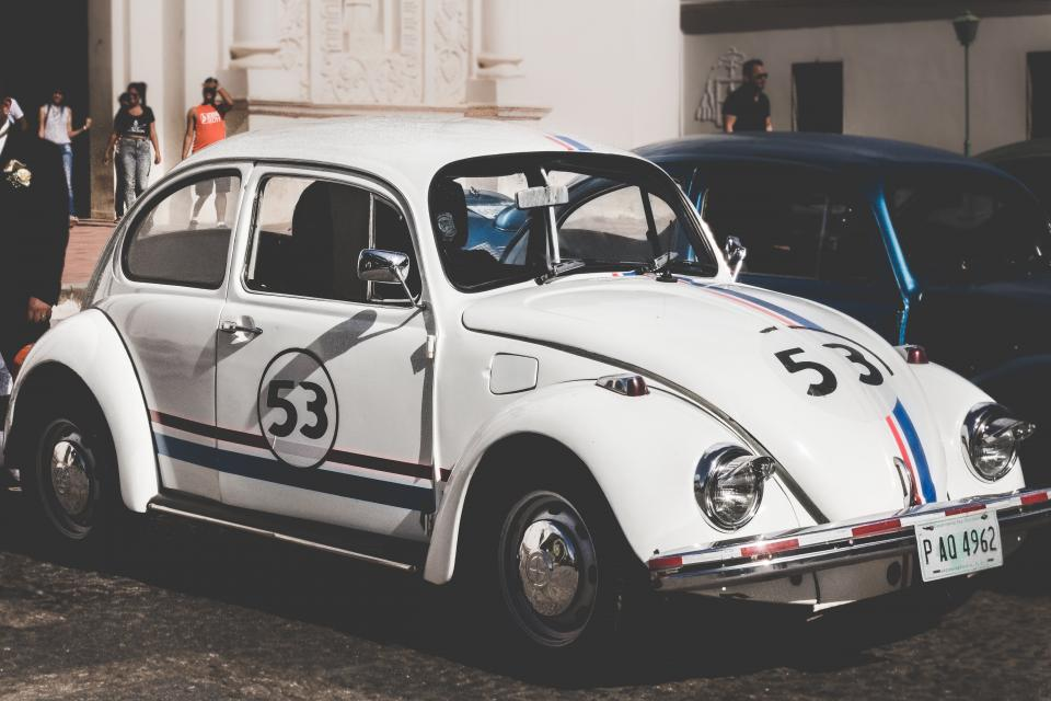 car transportation vehicle volkswagen herbie sports car exhibit white