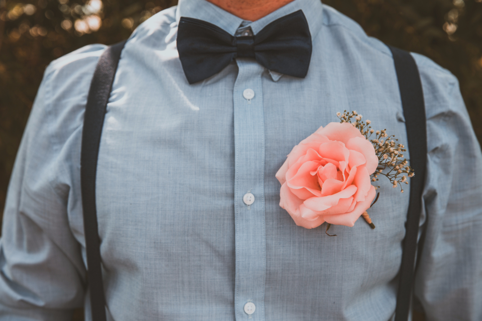 casual semi-casual formal formal wear wear clothes clothing boutonniere wedding wedding attire bowtie bowties suspenders blue dress shirt shirt male guy man boy