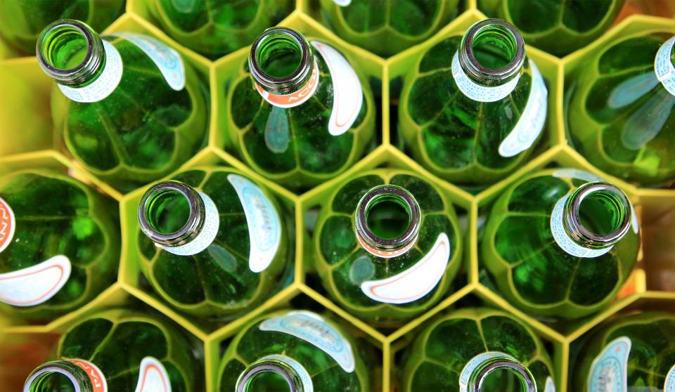 beverage green empty bottle hole