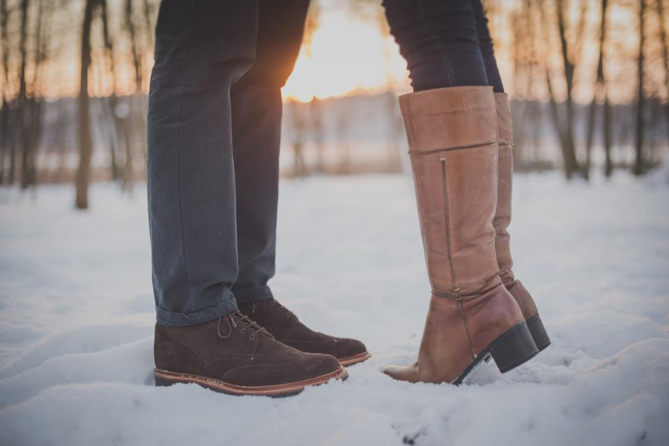 boots shoes people couple love romance snow cold winter fashion shoes outdoors nature