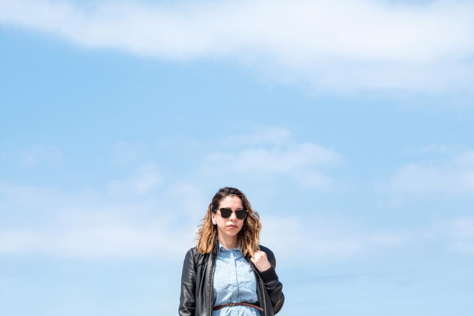 people woman shades sunglasses clouds sky