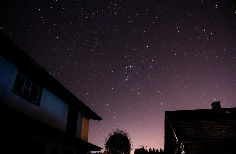 house architecture galaxy stars stargazing astrophotography dark night shadows silhouette