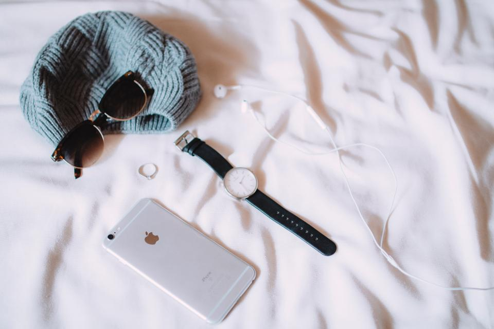 iphone mobile smartphone bed sheets watch headphones earbuds sunglasses hat fashion objects