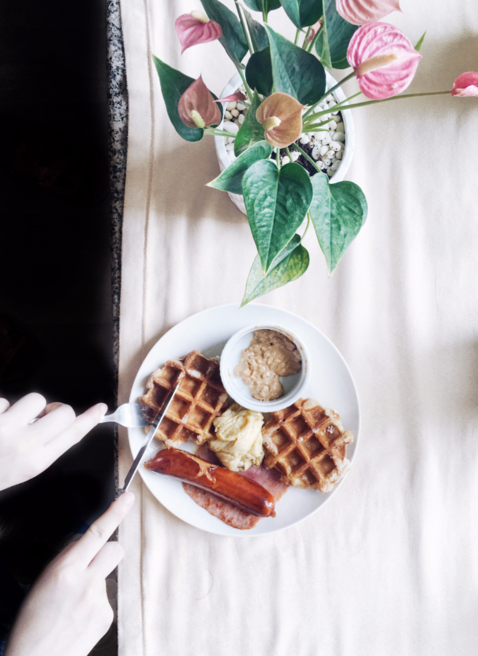 waffle flatlay flowers sausage breakfast brunch yum food hands