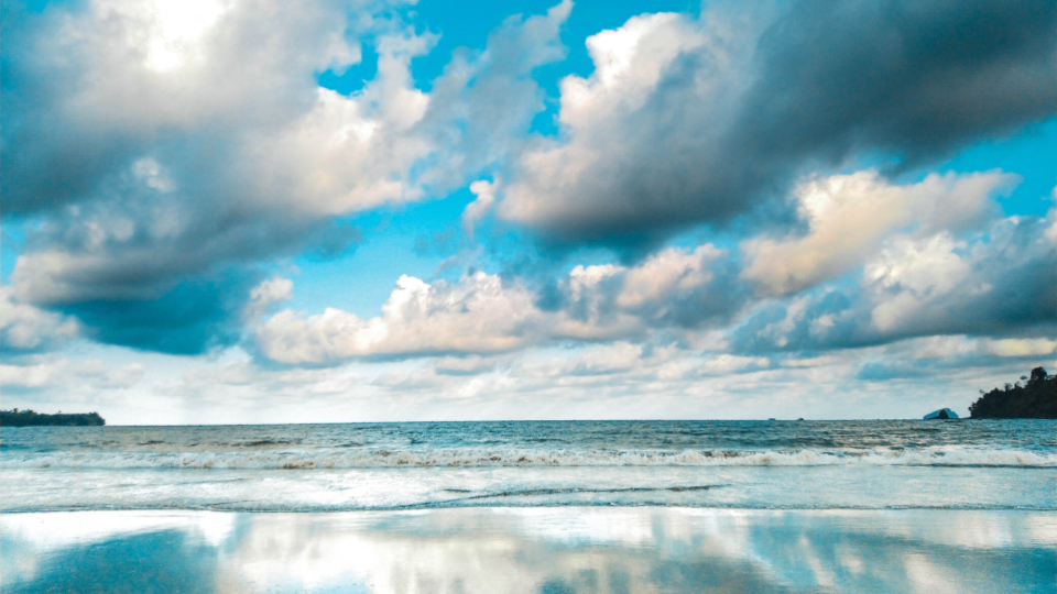 dramatic seascape summer clouds sea water ocean reflection storm clam still