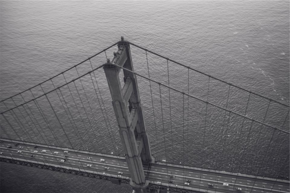 Golden Gate Bridge San Francisco black and white architecture cars water