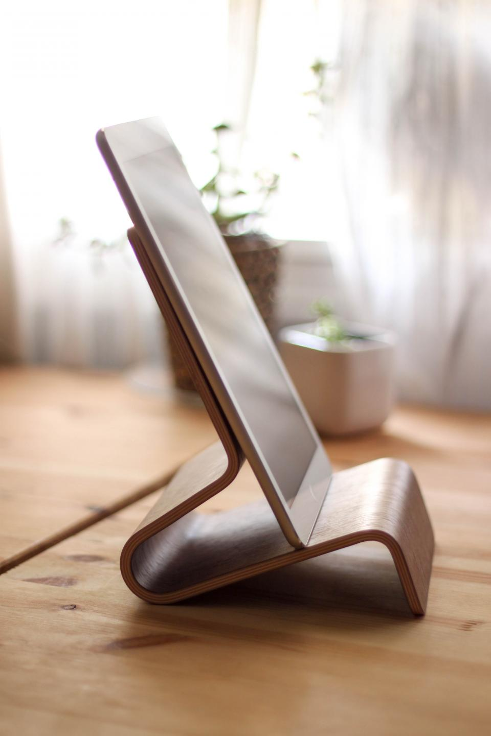 ipad tablet stand wood technology office business desk