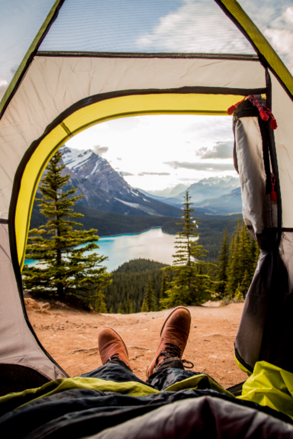 camping tent outdoors travel hiker hike camp lake nature landscape mountain woman sky adventure recreation leisure summer portrait scenic view mountains earth trees forest alberta park clouds