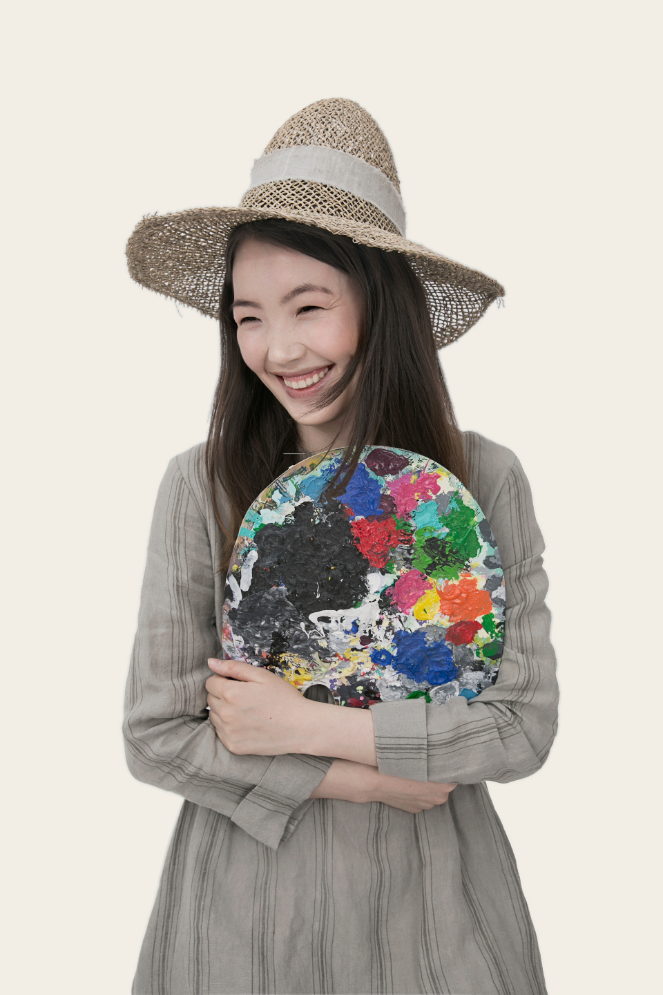 happy smile woman paint palette asian girl people art smiling laughing laughter fashion clothes hat trendy