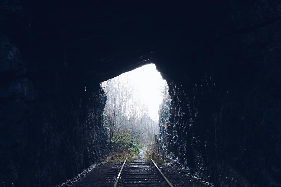 tunnel dark woods forest train train rail ride vehicle transportation travel