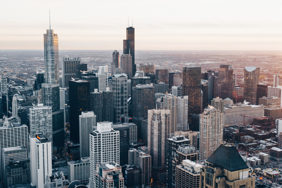 chicago skyscrapers buildings city sunset usa rooftops urban downtown skyline architecture
