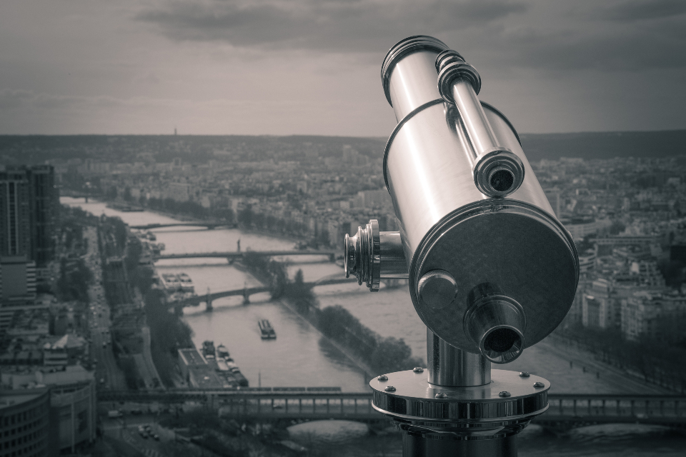 telescope view city river bridge travel vacation buildings retro