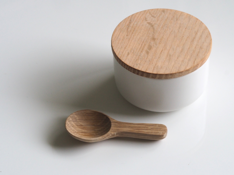 white bowl lid wood spoon kitchen minimal white brown