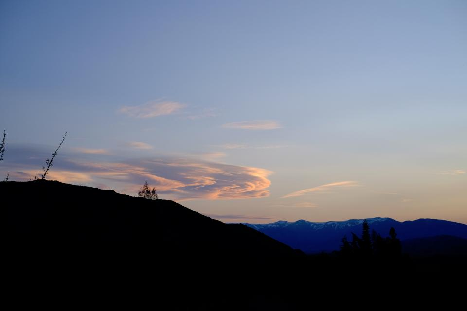 nature mountains sky clouds silhouette
