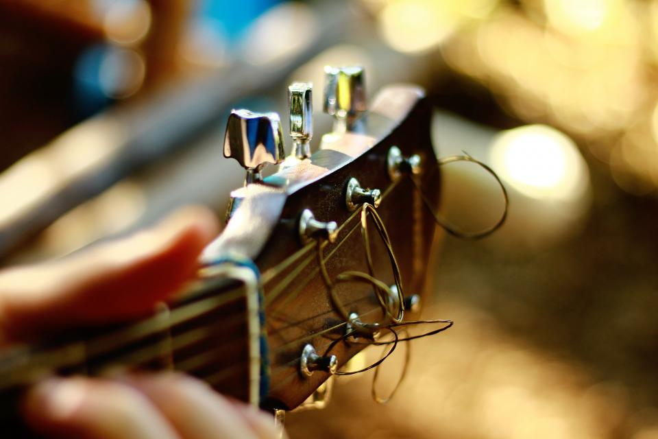 still items things music instruments guitar strings fret hand people bokeh