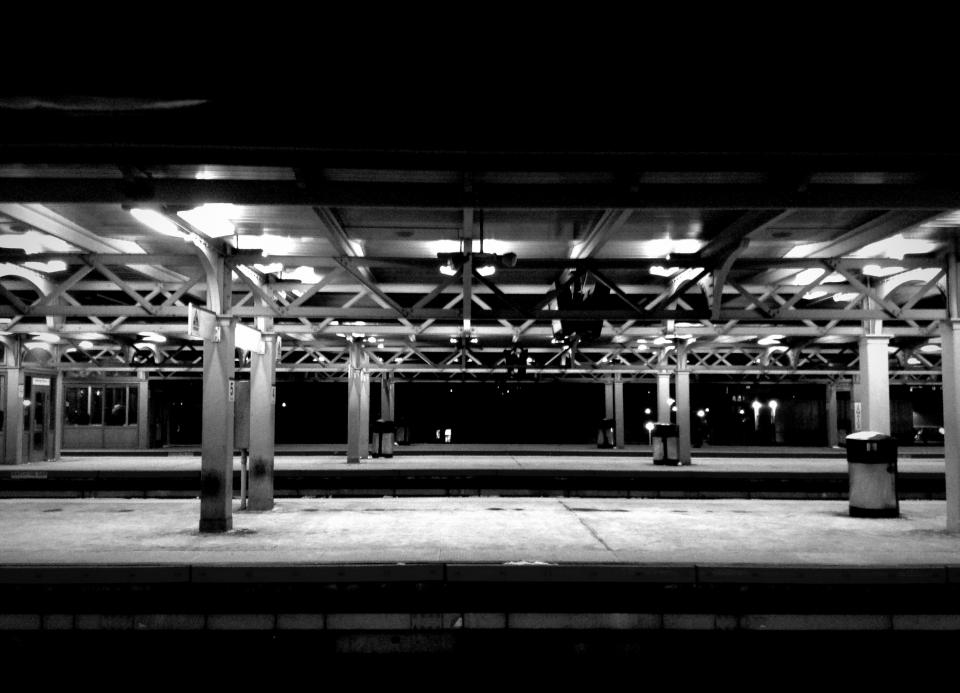 bus station transportation urban black and white night dark
