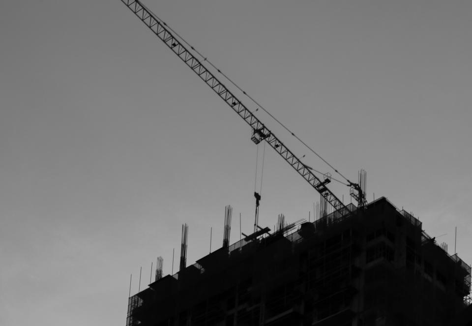 architecture building infrastructure sky black and white construction crane
