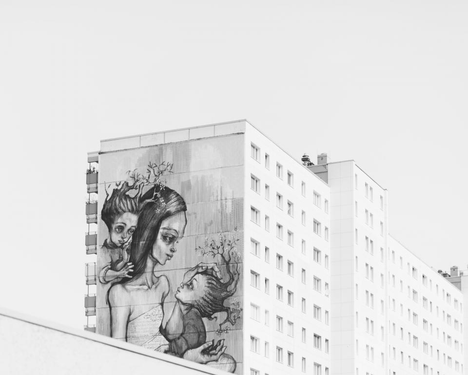 paint art graffiti parent mother kid children baby architecture white black and white monochrome building establishment