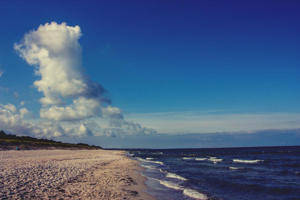 nature landscape clouds sky blue beach ocean sea water waves sand