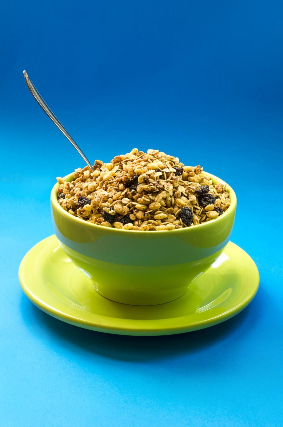food bowl plate green spoon raisins peanut