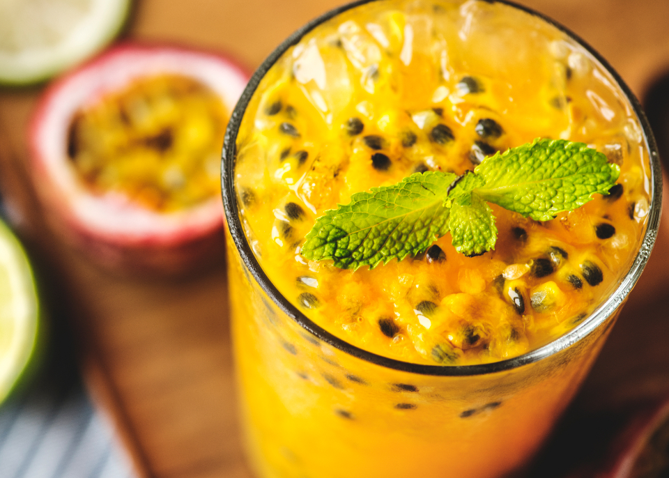 beverage blended cold drink delicious drink drinking food photography fresh freshness fruit glass gourmet healthcare healthy ingredient juice juicy macro mint natural nutrients nutritious organic passion passionfruit passionf