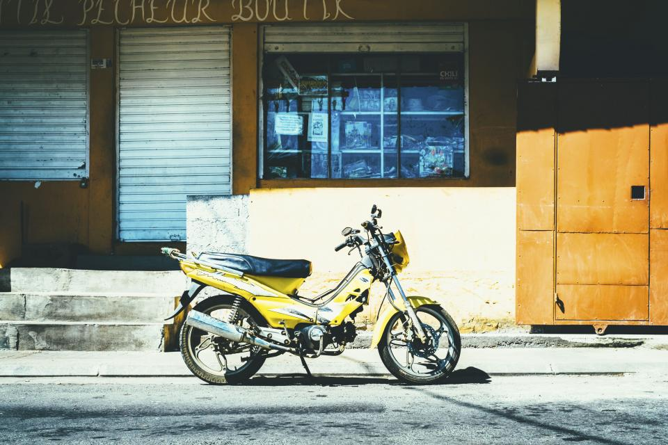 motor bike road sunny yellow vehicle