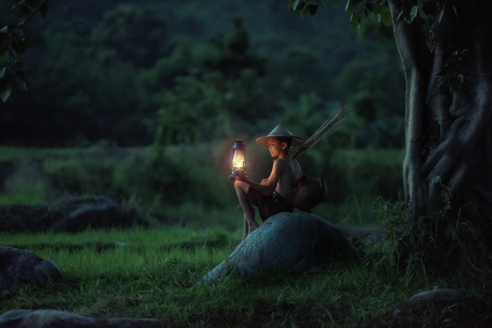 young boy lamp night field asia farmer green nature travel adventure people children boy